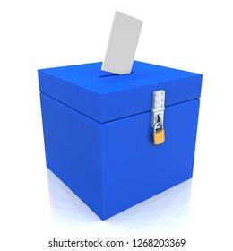 3D Illustration - blue ballot box with padlock and ballot paper 2