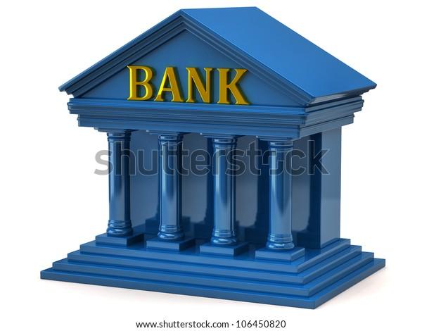 3d illustration of blue bank