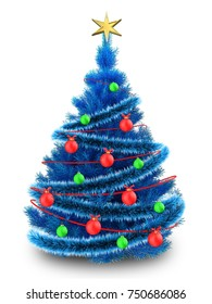 3d illustration of blue Christmas tree with blue tinsel over white background