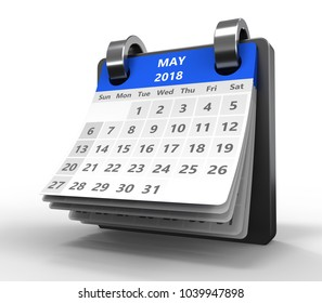 3d illustration of blue color calendar over white, may 2018 page
