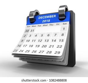 3d illustration of blue color calendar over white, december 2018 page