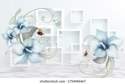 3d illustration of blue and geometric flowers for luxury background