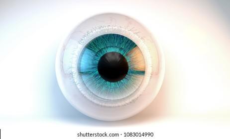 3d illustration Blue green eye