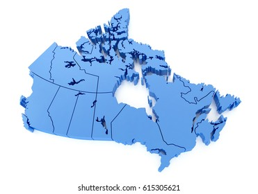 3D  Illustration Blue Map of Canada