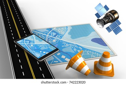 3d illustration of blue map with mobile phone and repair cones