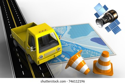 3d illustration of blue map with yellow truck and repair cones