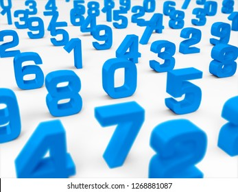 3D Illustration - blue 3D numbers on white background - focus on number one