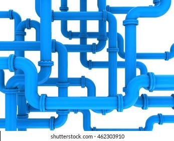 3d illustration of blue pipes system