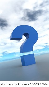 3D Illustration - blue question mark