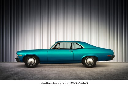 3D illustration of blue retro car on street at hight