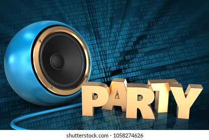 3d illustration of blue sound speaker over binary digital background with party sign