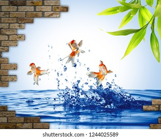 3d illustration, blue water, gold fish jumping out of the water, pieces of a brick wall, green leaves