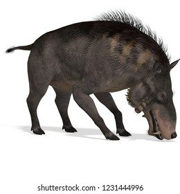 3D illustration of a boar dinosaur entedolon over white