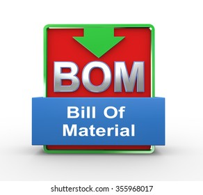 3d illustration of bom bill of material concept