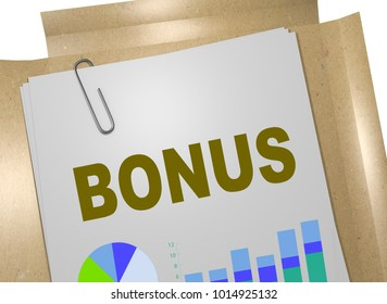 3D illustration of BONUS title on business document