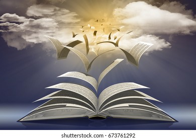 3D illustration. Book pages flying to the sun in the infinite blue sky.
