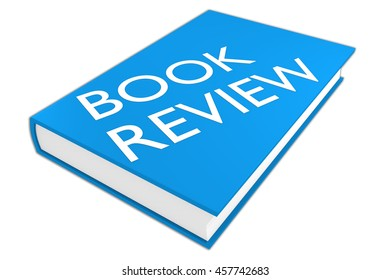 """3D illustration of """"BOOK REVIEW"""" script on a book, isolated on white."""