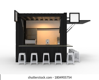 3d illustration of booth container kiosk for coffee shop