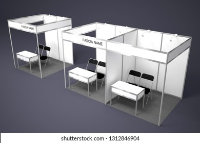 3d illustration booth exhibition partition standard system size 2x2 m with gray carpet and table chair for trade fair.