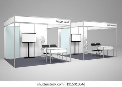 3d illustration booth exhibition partition standard system size 3x3 m with gray carpet led TV roll up banner and table chair for trade expo fair.