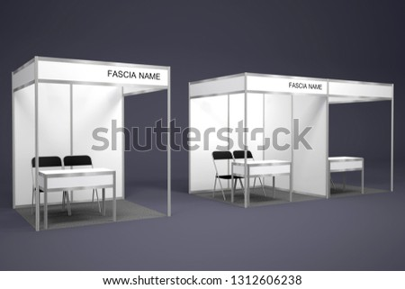 Exhibition Booth Table : Blank white trade exhibition booth system stand u stock photo