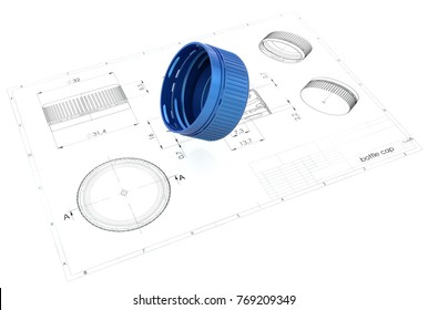 3d illustration of bottle cap above engineering drawing