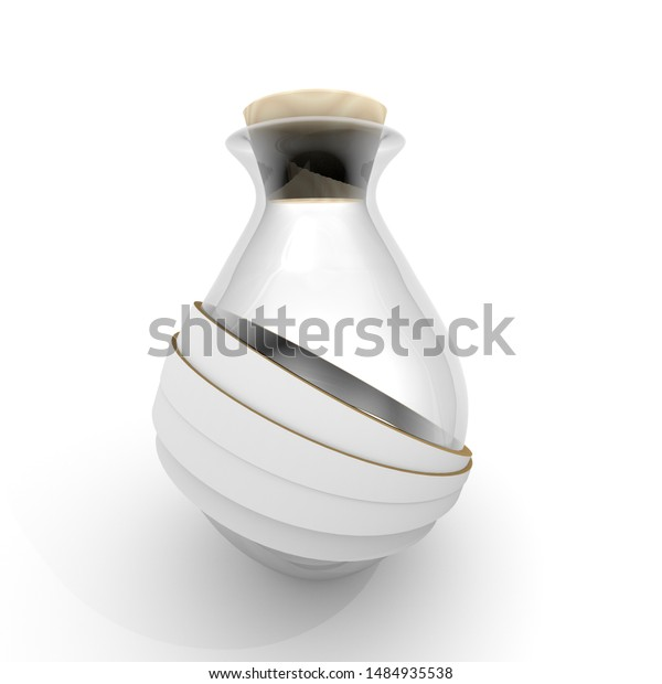 3D illustration , a bottle of glass with strips on white background
