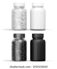3D illustration. Bottles of black and white pills isolated. Opaque and transparent.