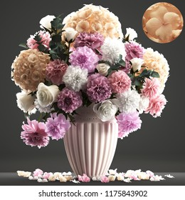 3D illustration bouquet flowers