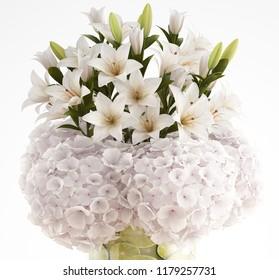 3D illustration Bouquet flowers, fruit and floral arrangement.