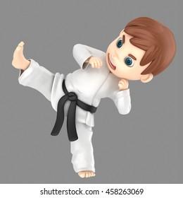 3d illustration of a boy in kimono doing karate