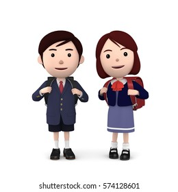 3D illustration,  Boys and girls in elementary school entrance ceremony