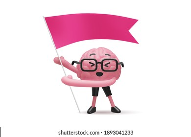 3d illustration of brain cute character in glasses with flag