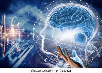 3d illustration. Brain. Human life. Tech system life.