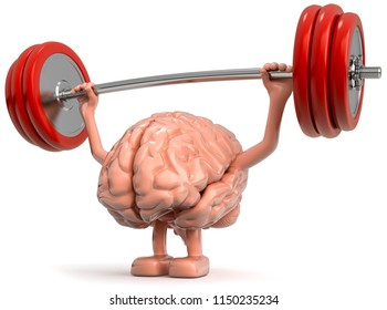 3D illustration Brain as a weightlifter