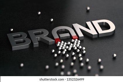 3d illustration of a brand name with the letter a shaped like horseshoe magnet. Metallic word over black background. Concept of brand awareness