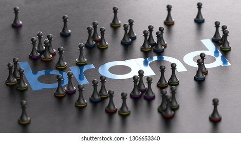 3D illustration of a brand name with pawns surrounding it over black background. Marketing and customer loyalty concept.