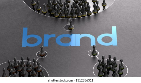 3D illustration of a brand name with pawns symbols of influencers and followers over black background. Marketing and communication concept.