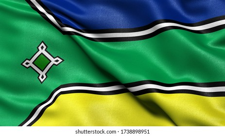 3D illustration of the Brazilian state flag of Amapa waving in the wind.