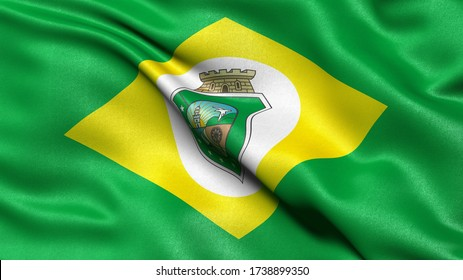 3D illustration of the Brazilian state flag of Ceara waving in the wind.