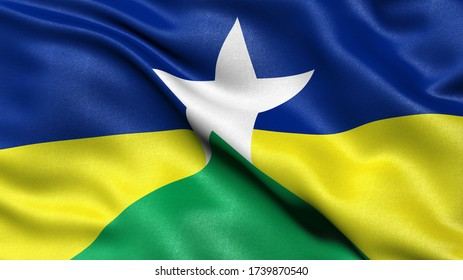 3D illustration of the Brazilian state flag of Rondonia waving in the wind.