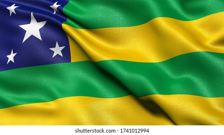 3D illustration of the Brazilian state flag of Sergipe waving in the wind.