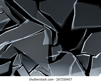3d illustration of breaking glass over black background with motion blur
