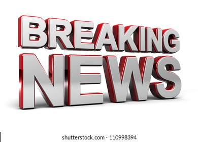 3D illustration of a breaking news TV screen over white
