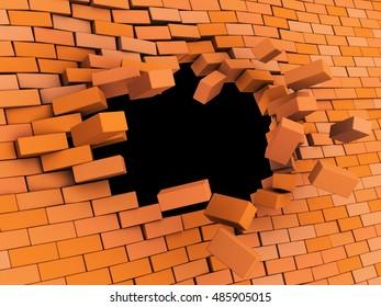 3d illustration of brick wall crash over black background