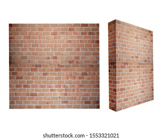 3D illustration brick wall on a white background