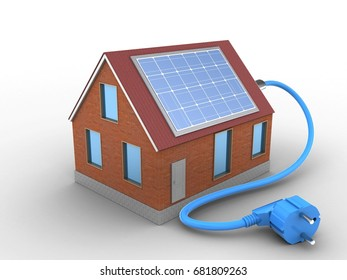 3d illustration of bricks house over white background with solar power
