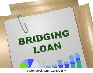 3D illustration of BRIDGING LOAN title on business document