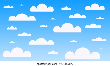 3d illustration of a bright blue sky with paper clouds. Bright summer blue sky background with paper clouds.