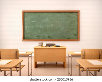 3d illustration of bright empty classroom for lessons